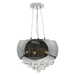 Dar GIS0510- Giselle 5lt Multi Arm Pendant, Smoked Glass, Polished Chrome