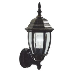 Dar HAM162235- Hambro 1lt Wall Light, Black Gold, Bevelled Edge Glass