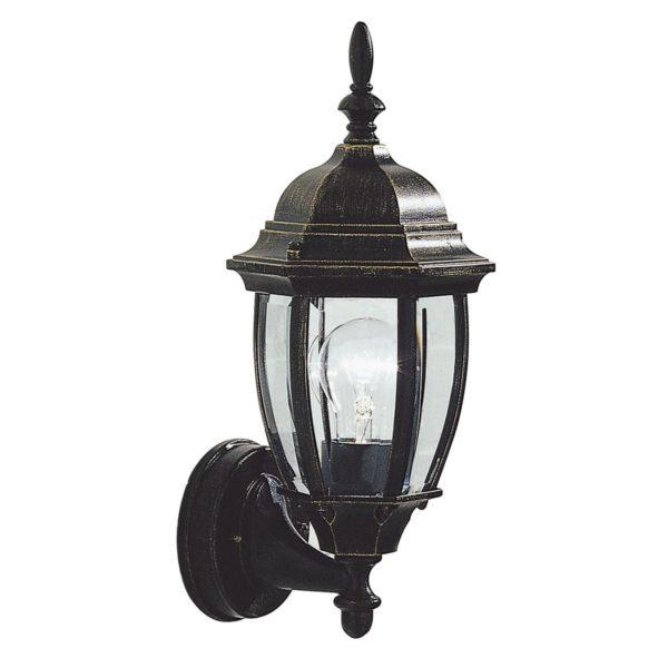 Dar HAM162235- Hambro 1lt Wall Light, Black Gold, Bevelled Edge Glass