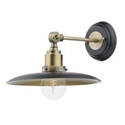 Dar HAN0754- Hannover 1lt Wall Light, Gloss Black, Antique Brass