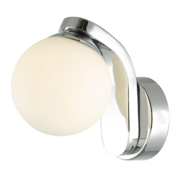 Dar IKE0750- Iker 1lt Wall Light, Polished Chrome, Opal Glass