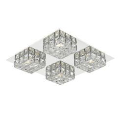 Dar IMO0450- Imogen 4lt Flush, Polished Chrome, Clear Faceted Crystal