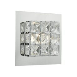 Dar IMO0750- Imogen 1lt Wall Light, Polished Chrome, Clear Faceted Crystal