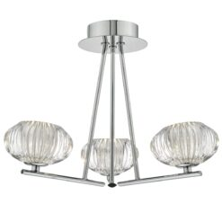 Dar JEN5350- Jensine 3lt Semi Flush, Polished Chrome, Ribbed Glass