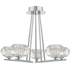 Dar JEN5450- Jensine 5lt Semi Flush, Polished Chrome, Ribbed Glass