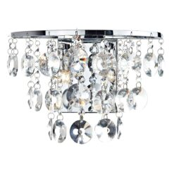 Dar JES0950- Jester 2lt Wall Light, Clear Faceted Crystal, Polished Chrome
