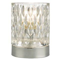 Dar JIL4050- Jill 1lt Table Lamps, Polished Chrome, Glass