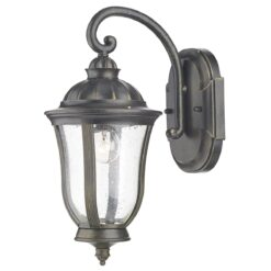 Dar JOH1635- Johnson 1lt Wall Light, Black Gold, Glass