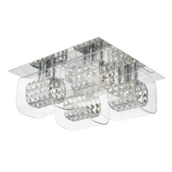 Dar KAB5050- KABUKI 4lt Flush, Polished Chrome, Clear Faceted Crystal