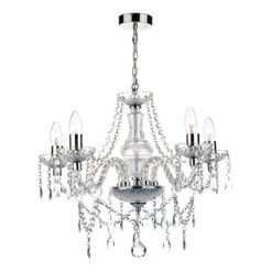 Dar KAT0550- Katie 5lt Multi Arm Pendant, Polished Chrome
