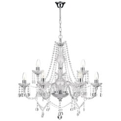 Dar KAT1350- Katie 9lt Multi Arm Pendant, Polished Chrome