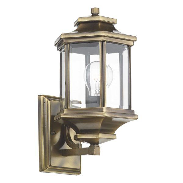 Dar LAD1675- Ladbroke 1lt Wall Light, Antique Brass, Bevelled Edge Glass