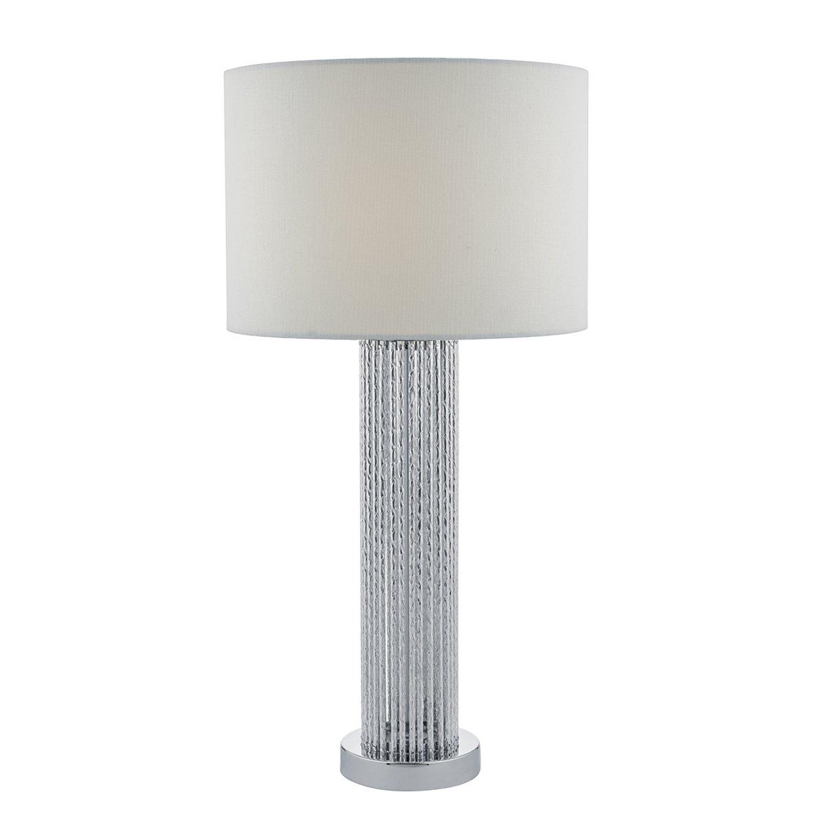 Dar Laz4232 Lazio 1lt Table Lamps Silver White