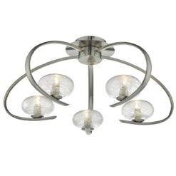 Dar LEI5446- Leighton 5lt Semi Flush, Satin Chrome, Glass