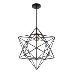 Dar LUA0122- Luanda 1lt Single Pendant, Matt Black, Polished Copper