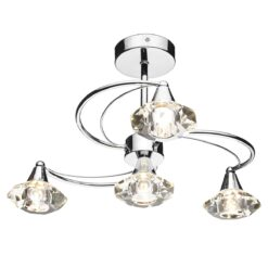 Dar LUT0450- Luther 4lt Semi Flush, Polished Chrome, Clear Faceted Crystal