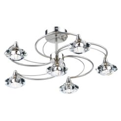 Dar LUT0646- Luther 6lt Semi Flush, Satin Chrome, Clear Faceted Crystal
