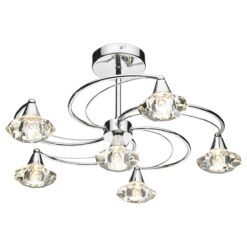 Dar LUT0650- Luther 6lt Semi Flush, Polished Chrome, Clear Faceted Crystal