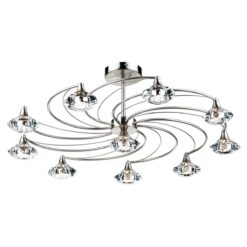 Dar LUT2346- Luther 10lt Semi Flush, Satin Chrome, Clear Faceted Crystal