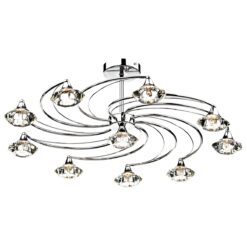 Dar LUT2350- Luther 10lt Semi Flush, Polished Chrome, Clear Faceted Crystal