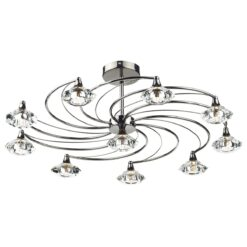 Dar LUT2367- Luther 10lt Semi Flush, Black Chrome, Clear Faceted Crystal