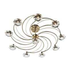 Dar LUT2375- Luther 10lt Semi Flush, Aged Brass, Clear Faceted Crystal