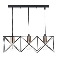 Dar MID0322- Midi 3lt Bar Pendant, Matt Black, Polished Copper