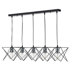 Dar MID0550- Midi 5lt Bar Pendant, Matt Black, Polished Chrome