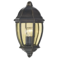 Dar NEW2135- Newport 1lt Wall Light, Black Gold, Bevelled Edge Glass