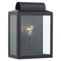 Dar NOT2122- Notary 1lt Wall Light, Black, Glass