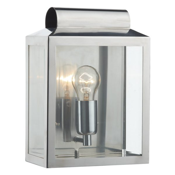 Dar NOT2144- Notary 1lt Wall Light, Stainless Steel, Glass