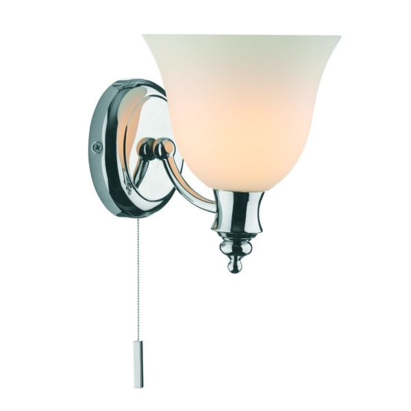 Dar OBO0750- Oboe 1lt Wall Light, Polished Chrome, White Frosted Glass