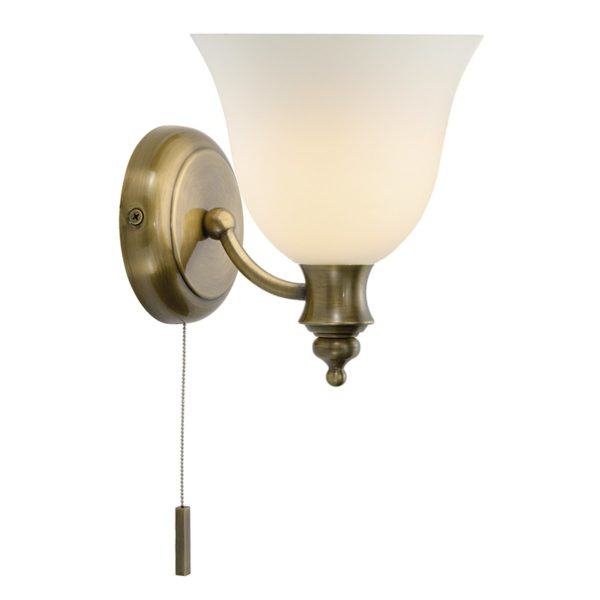 Dar OBO0775- Oboe 1lt Wall Light, Antique Brass, White Frosted Glass