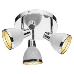 Dar OSA762- Osaka 3lt Spotlight, Gloss White, Polished Chrome