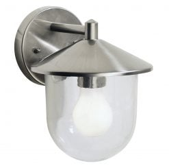 Dar POO1544- Poole 1lt Wall Light, Stainless Steel, Glass