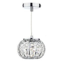 Dar RAE0150- Rae 1lt Single Pendant, Polished Chrome, Clear Faceted Crystal
