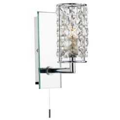 Dar RHO0750- Rhodes 1lt Wall Light, Polished Chrome, Faceted Glass