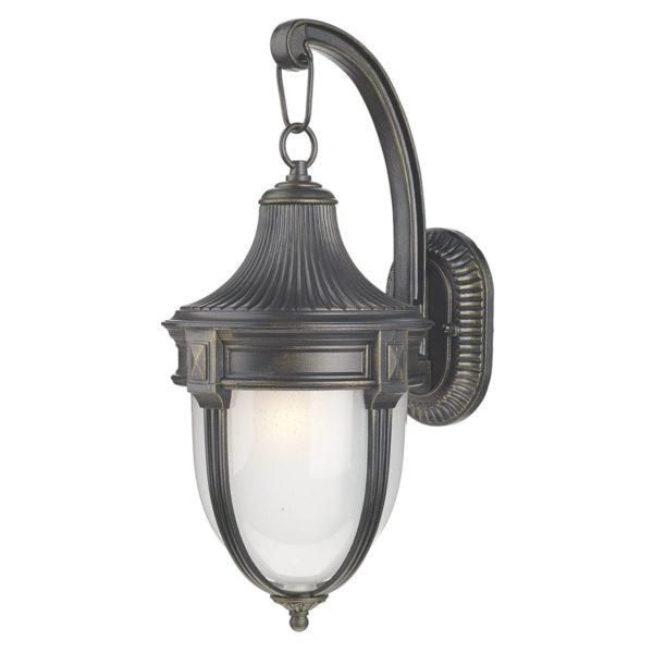 Dar RIC1535- Richmond 1lt Wall Light, Black Gold, Glass