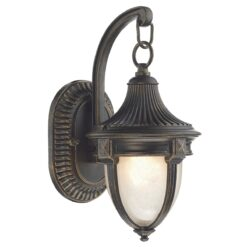 Dar RIC3235- Richmond 1lt Wall Light, Black Gold, Glass