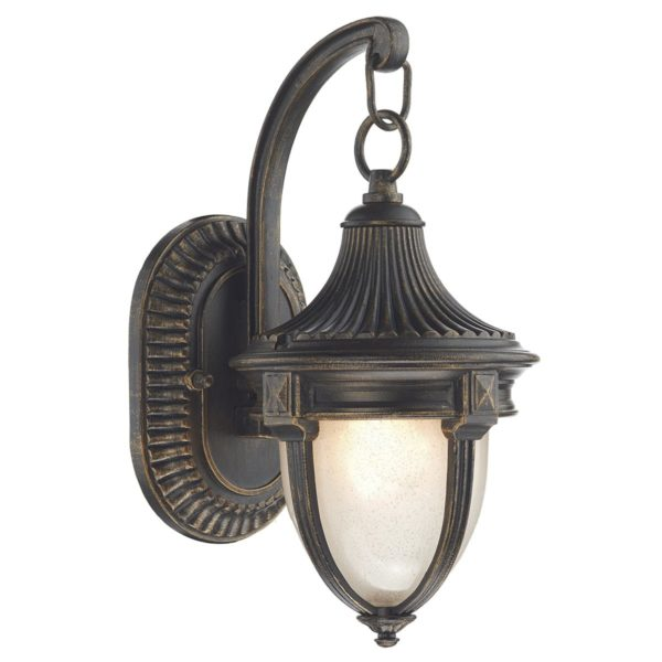 Dar RIC3235- Richmond 1lt Wall Light, Black Gold, Glass