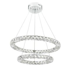 Dar ROM2550- Roma 1lt Single Pendant, Clear Faceted Crystal, Polished Chrome