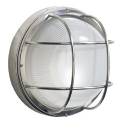 Dar SAL5044- Salcombe 1lt Wall Light, Stainless Steel, Glass
