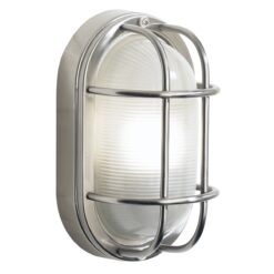 Dar SAL5244- Salcombe 1lt Wall Light, Stainless Steel, Frosted Glass
