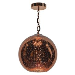 Dar SPE0164- Speckle 1lt Single Pendant, Copper Electro Plated, Polished Copper