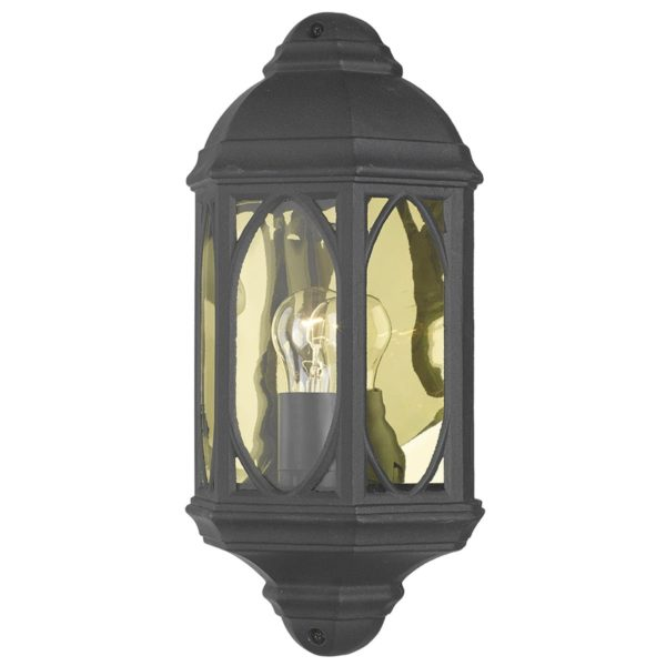 Dar TEN2122- Tenby 1lt Wall Light, Black, Glass