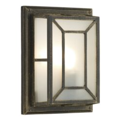 Dar TRE5254- Trent 1lt Wall Light, Black Gold, Glass