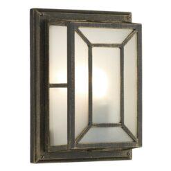 Dar TRE5254- Trent 1lt Wall Light, Black Gold, Glass