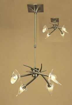 Mantra M0302AB- Flavia AB 4lt Multi Arm Pendant, Antique Brass