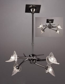 Mantra M0302BC- Flavia BC 4lt Multi Arm Pendant, Black Chrome