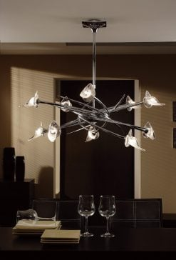 Mantra M0312- Flavia 10lt Multi Arm Pendant, Polished Chrome